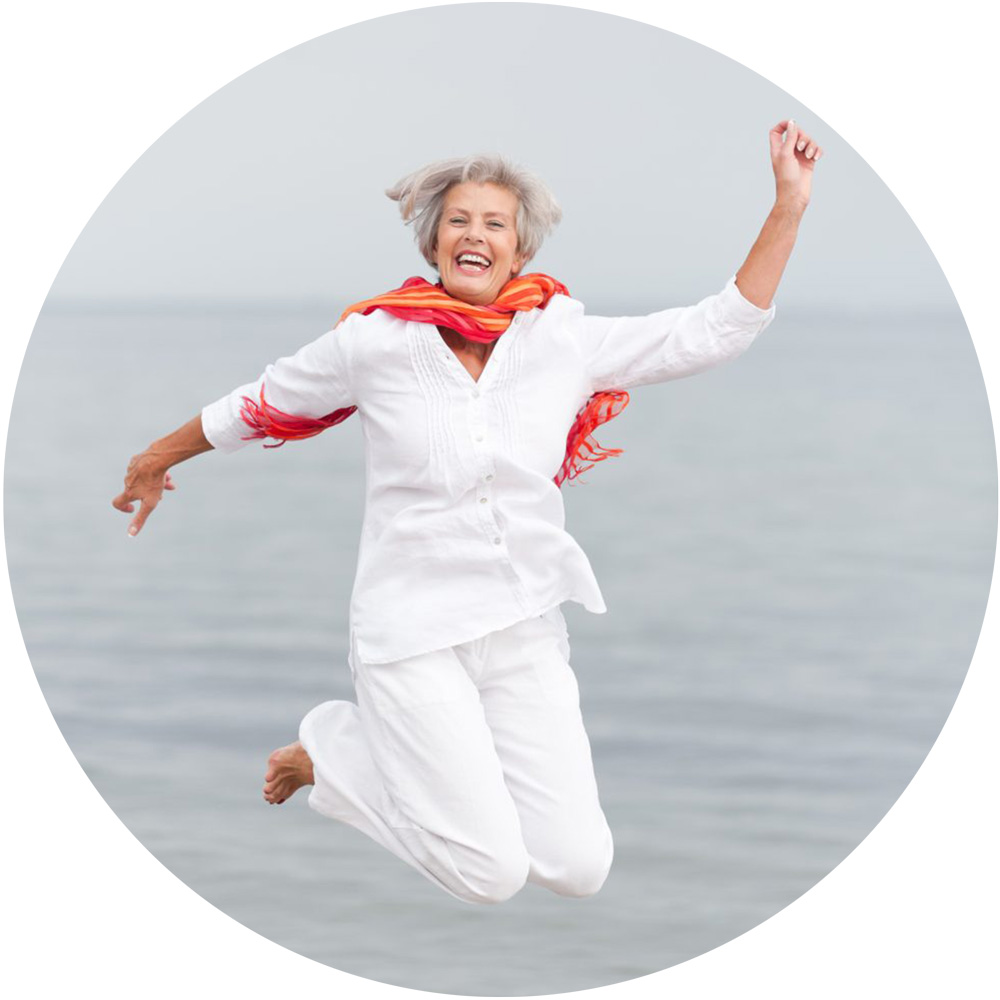 Happy lady jumping, feeling young, refreshed